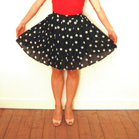 Vintage Polka Dot Skirt, Short Pleated Skirt, Black Polka Dots Skirt