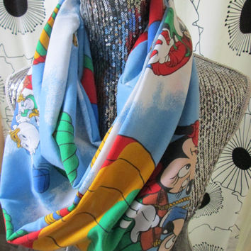 Vintage Disney Mickey Minnie Hot Air Balloon Ride Pluto Birthday Party Donald Duck Goofy Infinity Circle Disneyland Cozy Scarf