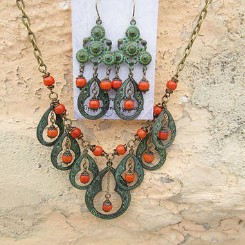 Statement necklace green Bohemian necklace Moroccan necklace Burnt Orange Boho Bohemian jewelry