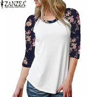 Autumn Trendy Women Casual Leisure O Neck Vintage Floral Print Tee Tops Ladies Elegant 3/4 Sleeve T-shirt Blusas Plus Size