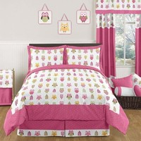 Pink Happy Owl Childrens and Kids 3 Piece Full / Queen Girls Bedding Set