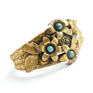 Antique Art Deco Floral Bracelet - 1920s 1930s Brass Hinged Flower Costume Jewelry / For Repair