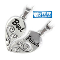 "Best Friend Gift Set - Half Heart Friendship Necklaces Engraved with ""Best"" and ""Friends"", 18"" Chains Included"