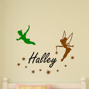 Peter Pan Wall Decal Never Land Sticker Tinkerbell Stars Children Decor Nursery Room Boys Bedroom Girls Playroom Fairies Personalized Name