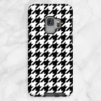 Black and White Houndstooth Samsung Galaxy S9 Tough Case