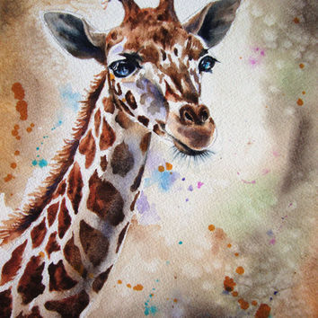 Giraffe Watercolor paintings Original limited edition quality giclee print 8 x 10