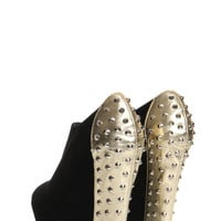 Greta Black Suedette Gold Studded Wedge Shoe Boot