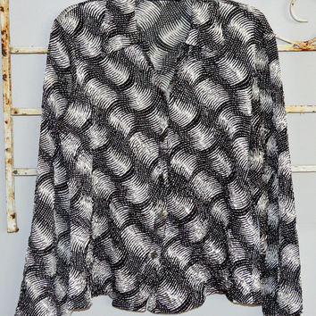Jennifer Lloyd XLarge Black White Krinkle Button Shirt