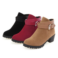 Womens Classic Ankle Strap Heel Boots