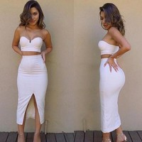 Fashion Online Cute Two Piece Strapless Dress