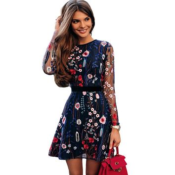 Sexy Women Floral Embroidery Dress Sheer Mesh Summer Boho Mini A-line Dress See-through Black Dress 2019 Vestidos De Festa