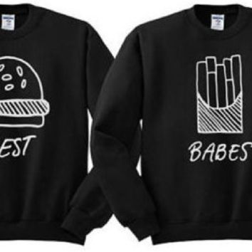 Letter hamburger fries pattern black sweater blouse men and women with the paragraph