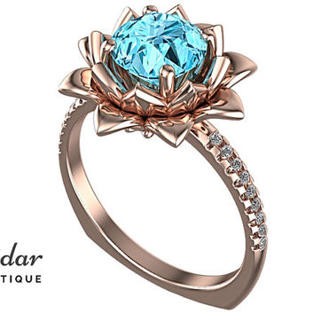 Aquamarine Engagement Ring,Unique Engagement Ring,Flower Engagement Ring,Lotus Engagement Ring Ring,Leaves Engagement Ring,Floral Engagement