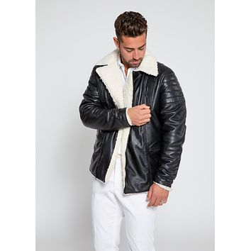 Men's Cosmo Shearling Curly Fur Leather Jacket