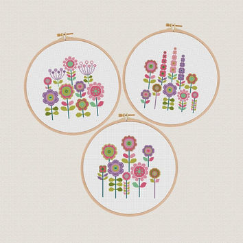 Flower Cross Stitch Pattern, set of 3 Floral Cross Stitch, Modern Colorful Embroidery Chart, Decor wall art Funny and Easy, Printable PDF