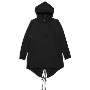 KM067 Long Kimono Hooded Cape - Black