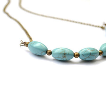 Turquoise Necklace. Beaded Necklace. Turquoise Strand Necklace. Contemporary Jewelry. Antique Brass