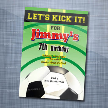Green Soccer Birthday, Birthday Party, Invitation Card Design