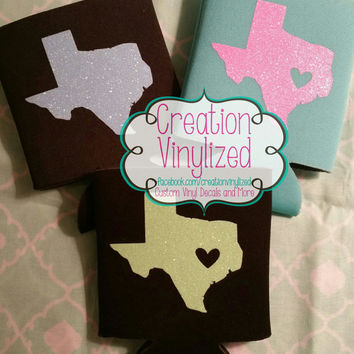 Texas can holder, texas can insulator, glitter, texas, can holder, Custom can holder