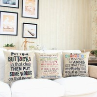 """MagicPieces Cotton and Flax Decorative Pillow Case Pillow Cover Case 18"""" x 18"""" Square Shape Sweet Quote B"""