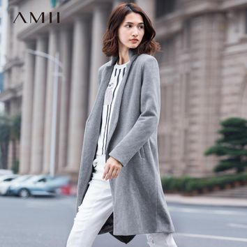Amii Casual Women Woolen Coat 2017 Winter Asymmetric Zipper V Neck Female Wool Blends