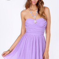 LULUS Exclusive Sash Flow Strapless Lavender Dress