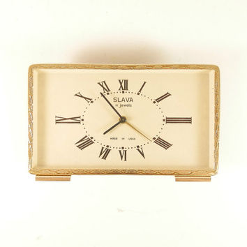 Slava 11 jewels Vintage Soviet Mechanical Desk Alarm Clock made in USSR 1950s