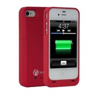 Mala Portable 1900MAH High Capacity Extended Battery & Protective Battery Case for Iphone 4 4S (Fit All Models Iphone 4 4S) Retail Packaging Matte Red:Amazon:Cell Phones & Accessories