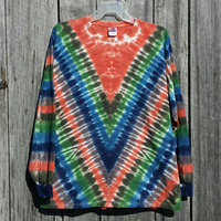 Adult 2XL Tie Dye Long Sleeve Shirt,  Deep V Design,  Blues, Greens, Gray and Deep Orange Tie Dye, Hippie Shirt,  Plus Size
