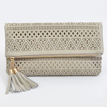 Aztec Pattern Gray Clutch