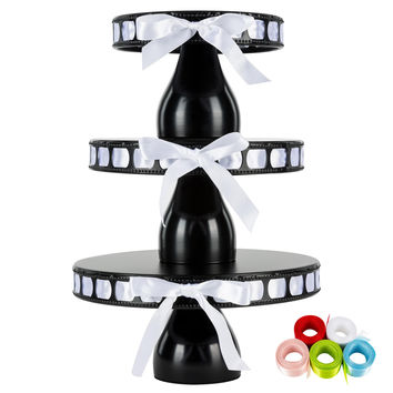 3-Piece Modern Round Metal Ribbon Cake Stand Set (Black)