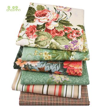 Chainho,6pcs/lot,Green&Brown Floral series Print Twill Cotton Fabric,Patchwork Cloth,DIY Sewing Quilting Material For Baby&Child