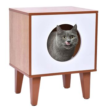Modern Wood and White Cat Box Pet Bed Furniture with Soft Pad
