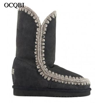 OCQBI winter women eskimo we tall wedge 29cm snow boots sheepskin high quality sweing fur laides ankle boots 35-41 shoes