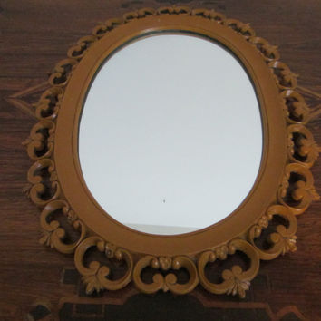 Syroco Wood Mid Century Oval Mirror Open Work Scrolled Decoration