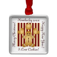 Christmas Holiday Cookies Red Stripes Cute Metal Ornament