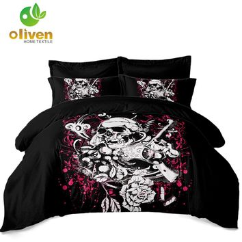 White Gun Skull Bedding Set Hot Pink Flower Duvet Cover