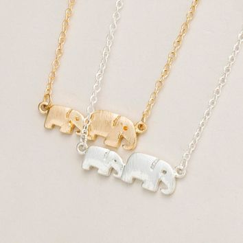 Mommy and Me Baby Elephant Family Pendant Necklace