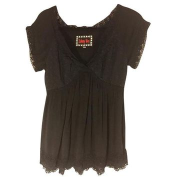 Johnny Was Black Eyelet Embroidered Tunic  S Pre-Loved $54 Free Shipping!