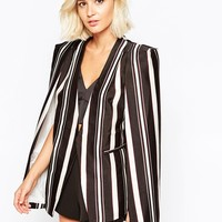 Lavish Alice Collarless Cape Blazer in Autumn Stripe at asos.com