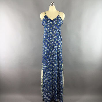 Indian Sari Maxi Dress / Vintage Indian Sari / Cotton Sundress / Loungewear / Blue Floral Print  / TALL Very Long Dress
