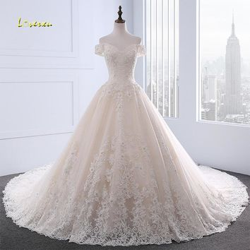 Loverxu Vestido De Noiva Boat Neck A Line Wedding Dresses 2018 Off The Shoulder Appliques Beaded Vintage Bridal Gown Plus Size