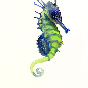 Blue Green Seahorse Original Watercolor From Originalonly On