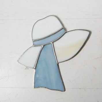 Stained Glass Hat Blue and White Bonnet with Ribbon Patio Kitchen Decor Vintage Small Wall Hanging