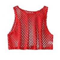 Red Fishnet Cropped Vest | Attitude Clothing