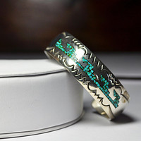 Vintage Native American Sterling Silver & Turquoise Chip Inlay Cuff Bracelet, Geometric, Mosaic, Engraved, Stunning Statement!  #A905