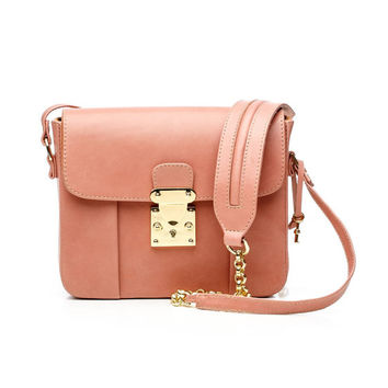 Pale pink leather crossbody bag / Shoulder strap bag with golden chain / MURA GURA Women HANDMADE leather purse/ Perfect gift for wife