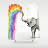 Baby Elephant Spraying Rainbow Whimsical Animals Shower Curtain by olechka