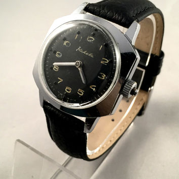 "Vintage ""RAKETA""- Braille mechanical watch for blind people, made in USSR 1970s, RARE collectible watch, comes with brand new leather band!"