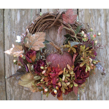 Autumn home decor floral pumpkin fall flower arrangement wreath door hanger rustic shabby chic whimsical